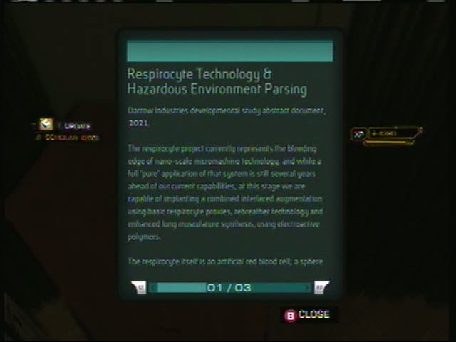 ebook09 Respirocyte Technology & Hazardous Environment Parsing | Deus Ex: Human Revolution